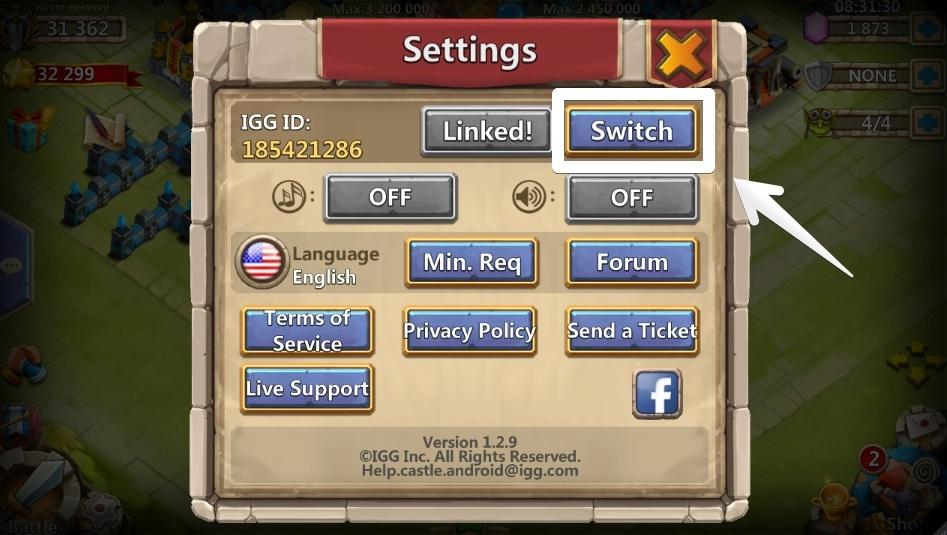 castle clash account transfer